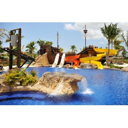 PIRATE GALLEON WAVE POOL AND SLIDES